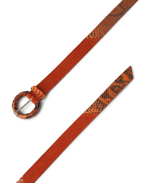 Orciani PRECIOUS LONG TIP PYTHON LEATHER AND SUEDE BELT