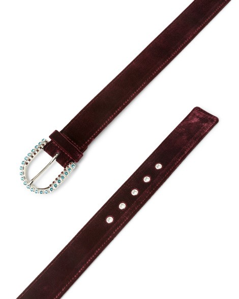 Orciani VELVET VELVET AND LEATHER JEWEL BELT