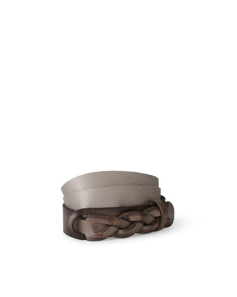 Orciani WALK NOBUCKLE LEATHER AND FABRIC BELT