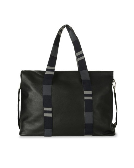 Orciani PORTLAND LINE LEATHER AND FABRIC SHOULDER BAG