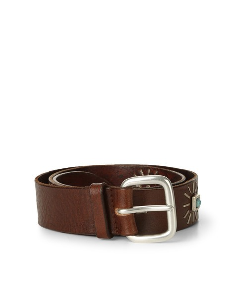Orciani STAIN STUDDED LEATHER BELT