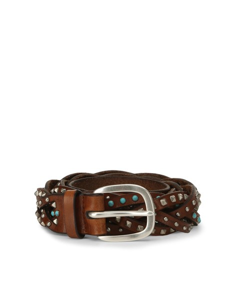 Orciani STAIN MICRO STUDDED WOVEN LEATHER BELT