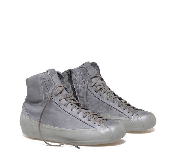 Grey leather low ankle boots
