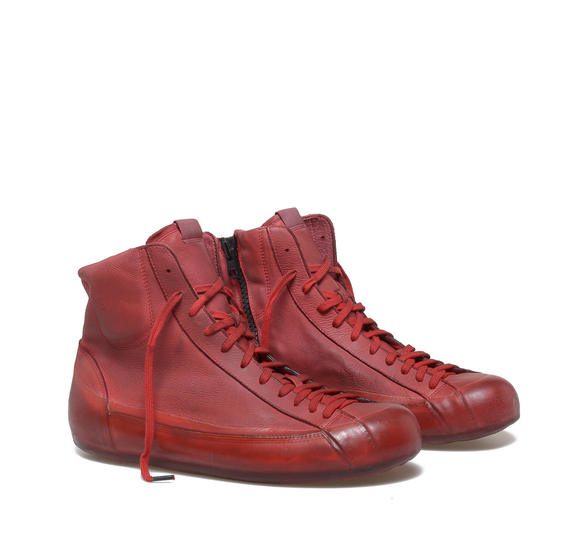 Red leather low ankle boots