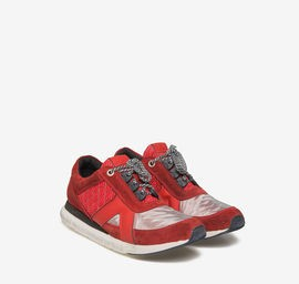 Red fabric running shoes