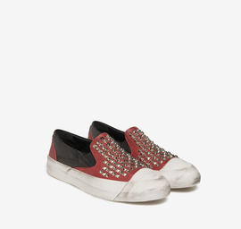 Studded leather slip-ons