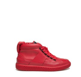 Woobie<br />Red leather women ankle sneaker