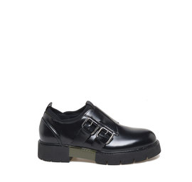 Double leather monk strap shoes