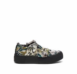 Humvee shoe in floral fabric with Velcro and a black sole