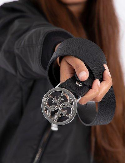 Cintura nera con fibbia logo BW6824 VIN35 sf
