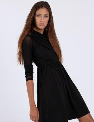 Vestito nero corto con drappeggio W74K69 K6100 sf
