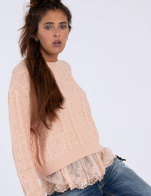 Maglione rosa con tulle W74R52 Z1PL0 sf