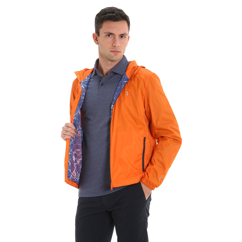 E09 waterproof hooded men's jacket - Flame Orange