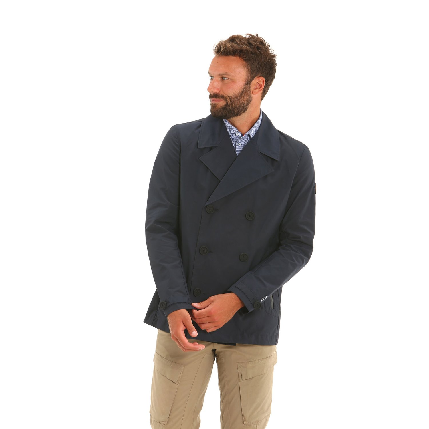 E15 water-repellent and windproof men's double-breasted jacket - Navy