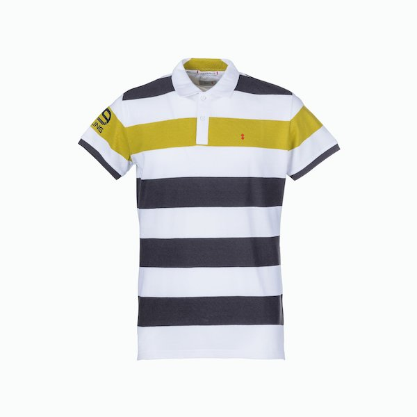 Men's polo shirt C81 with stripes of different frequencies