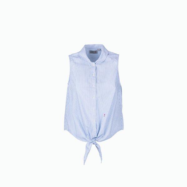 C07 Sleeveless striped 100% cotton poplin women's shirt