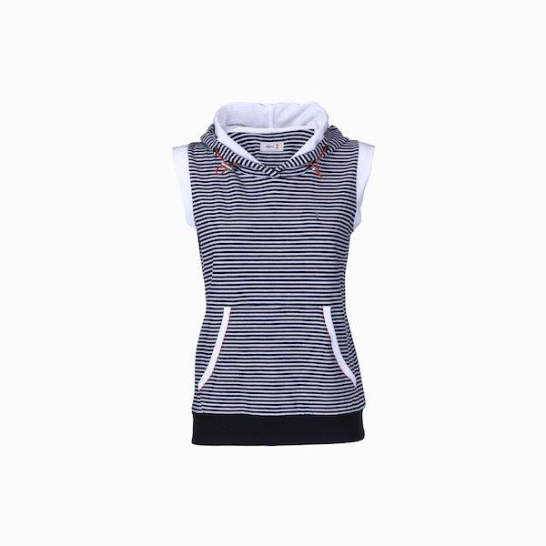 Women's sweatshirt C187 sleeveless striped with zip