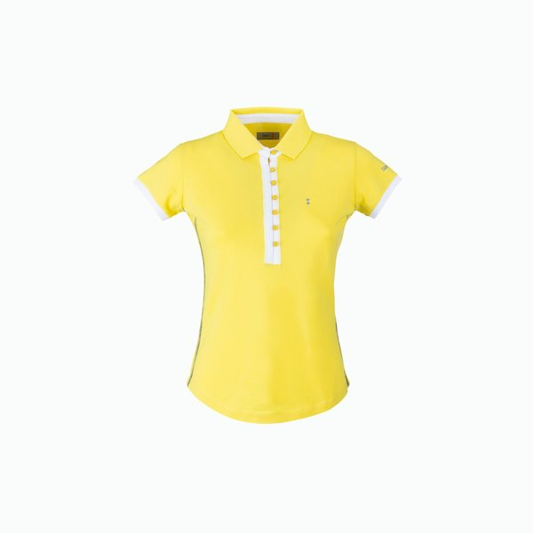 C129 Women's Polo Shirt in Cotton with deep buttoning