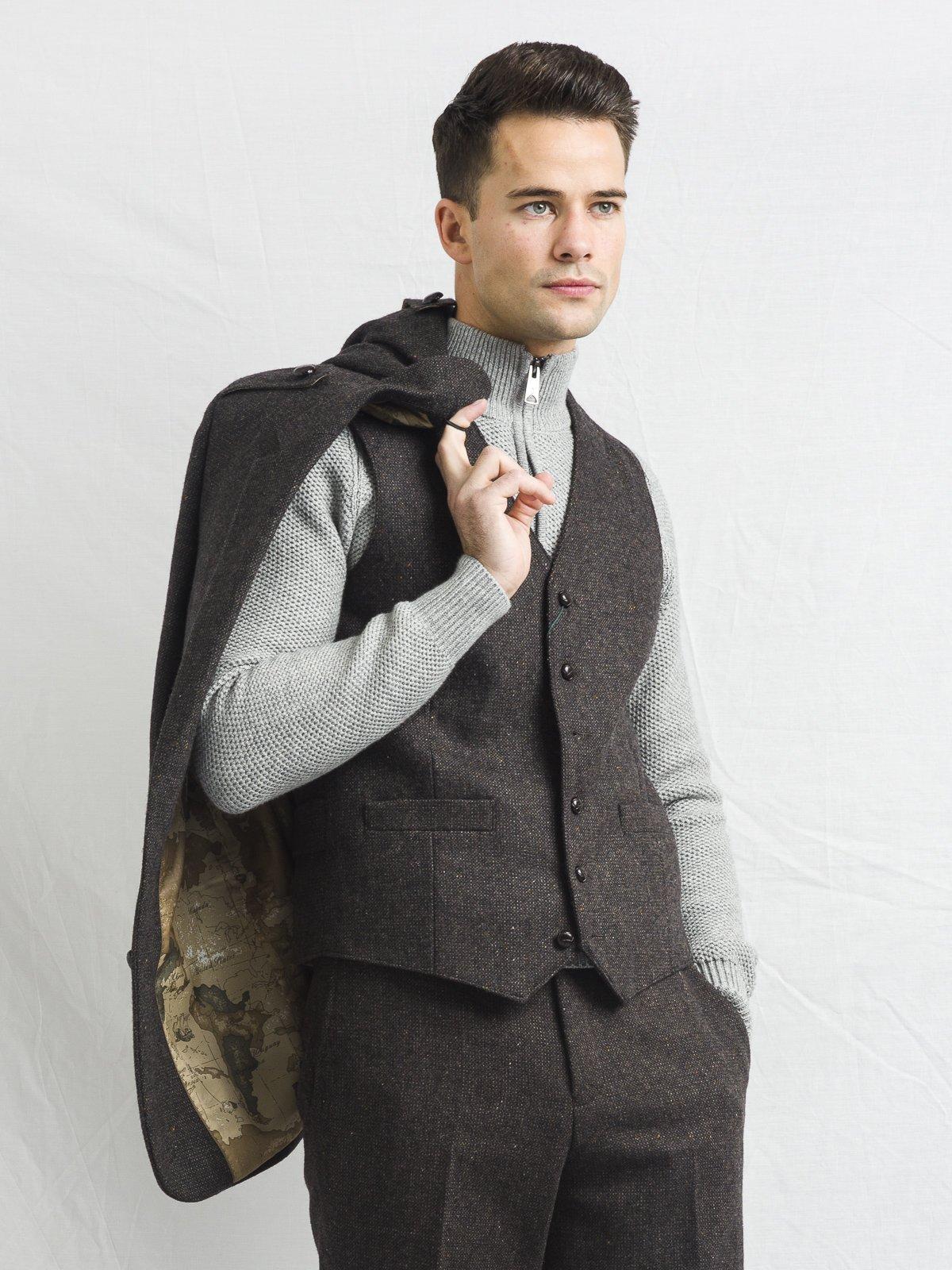 Brown Tweed Three Piece Suit