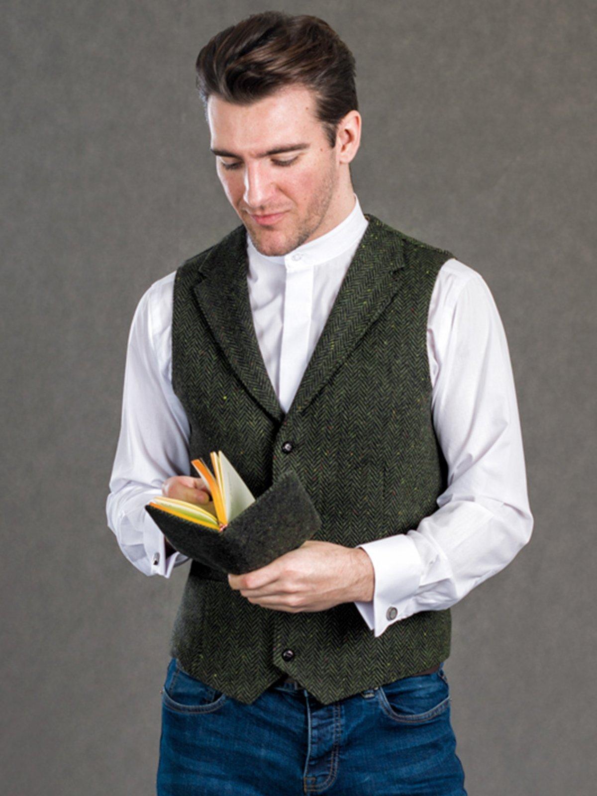 Pearse Tweed Herringbone Wool Waistcoat