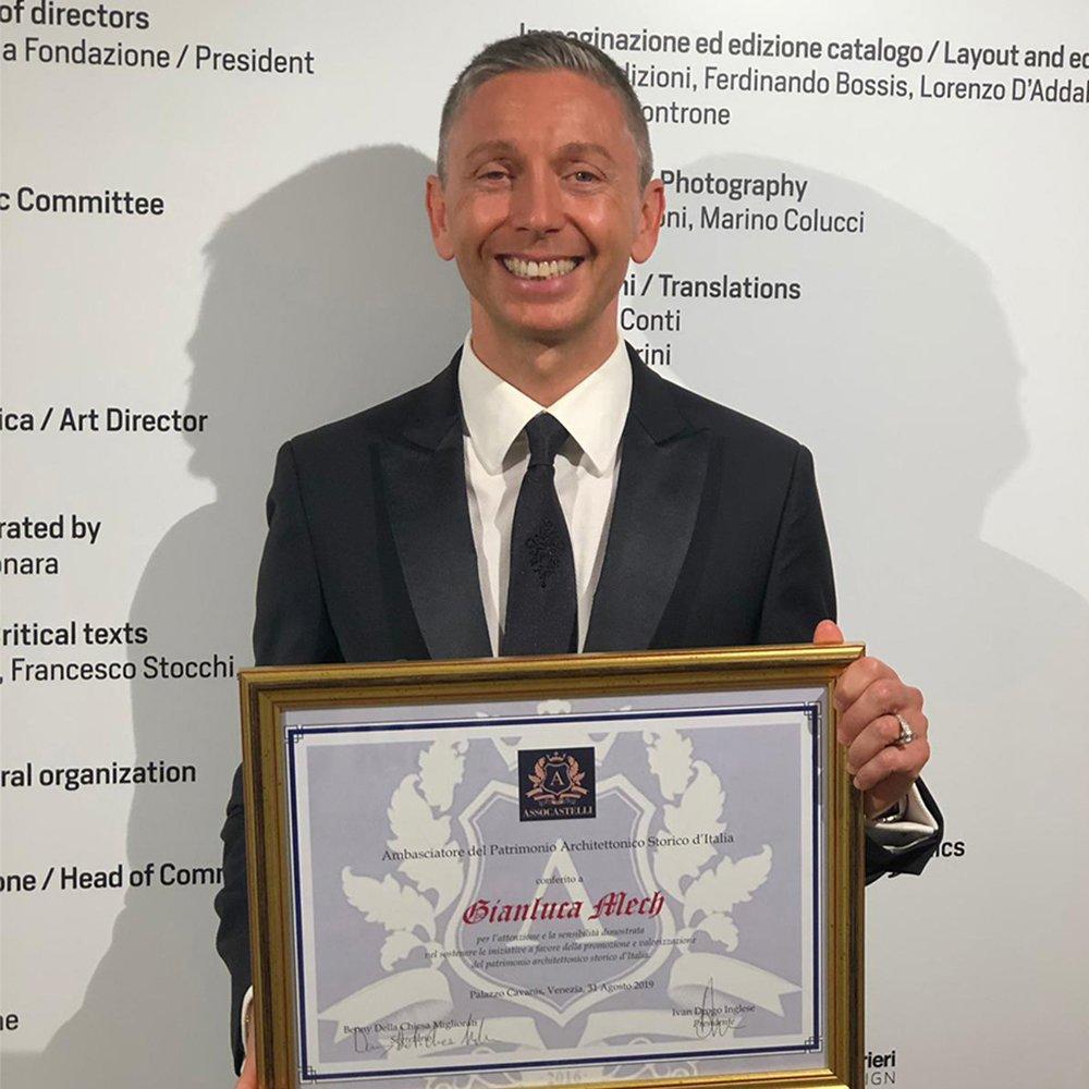 Gianluca Mech nominato ambasciatore del patrimonio storico d'Italia