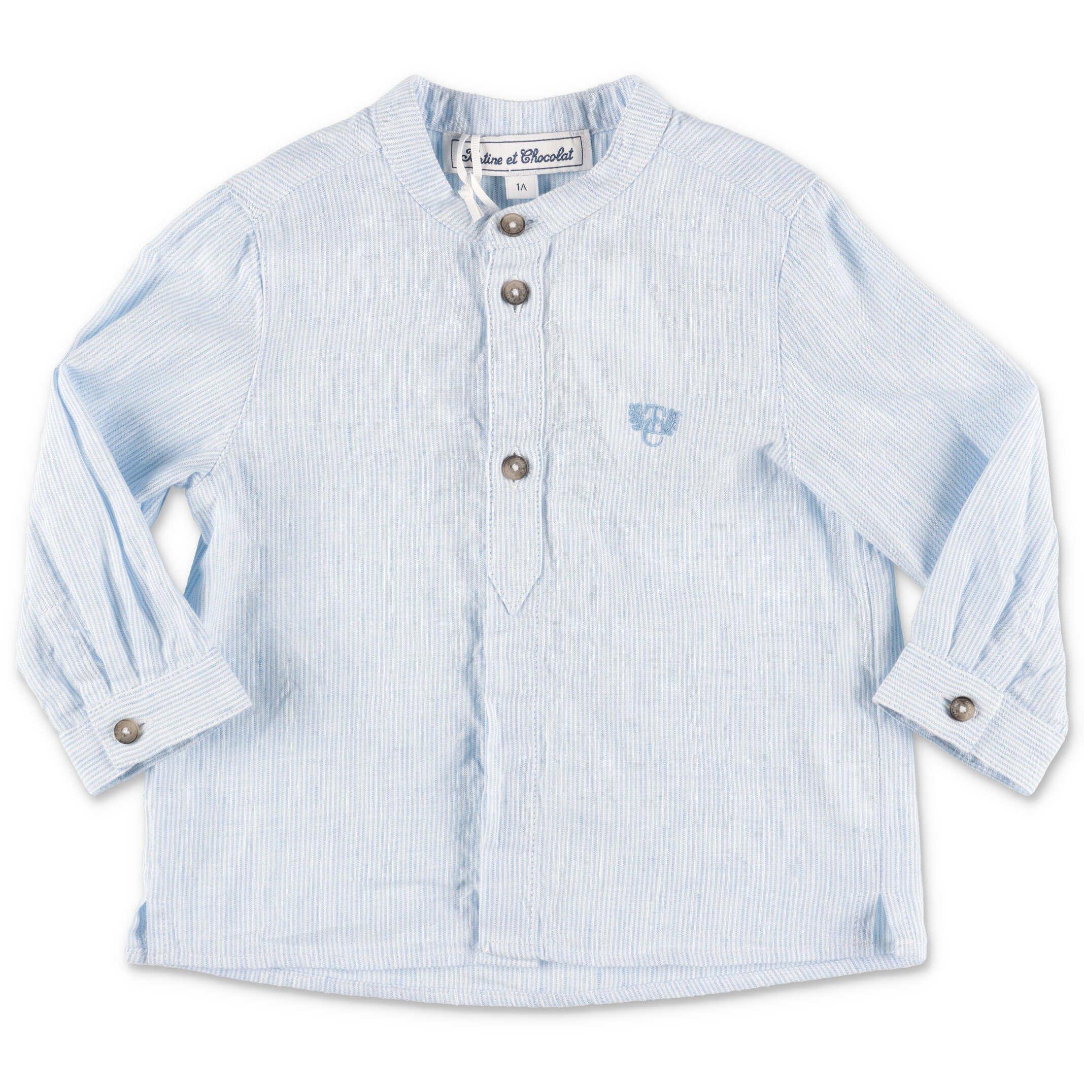 Tartine et Chocolat shirt light blue striped cotton baby boy