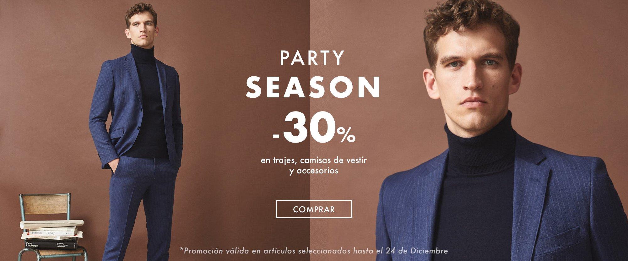 trajes, camisas de vestir, corbatas y pajaritas a un 30% dto