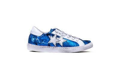 SNEAKER LOW PATTERNED LAMINATED BLUE