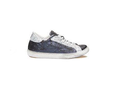 BLUE LAME' - GLITTER LOW SNEAKERS