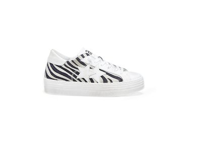 HS WHITE-BLACK ZEBRA LOW SNEAKERS
