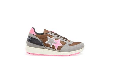 BROWN-GREY-FLUO FUCHSIA LOW SNEAKERS