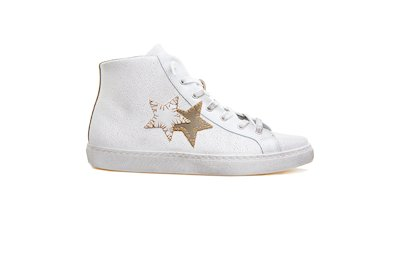 SNEAKER HIGH BIANCO-TAUPE