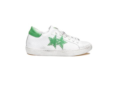 WHITE AND GREEN LOW SNEAKERS