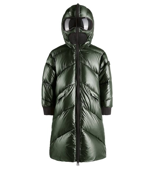 Long down jacket nylon satin