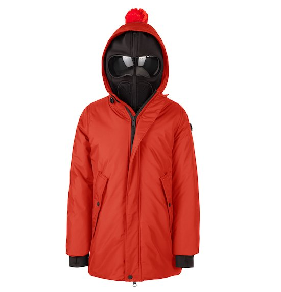 Long parka in mat nylon buil-in lenses