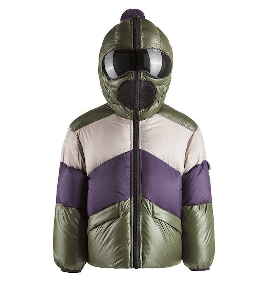 Down jacket color block built-in lenses