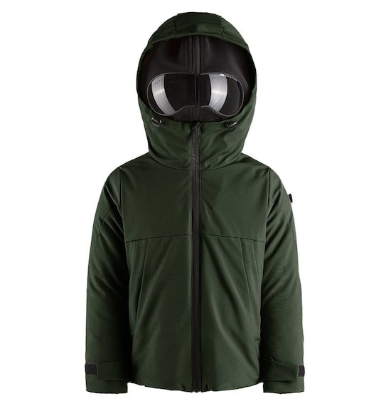 Down jacket in softshel built-in lenses