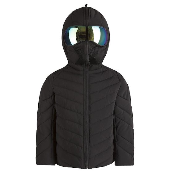 Mat down jacket mirrored built-in lenses