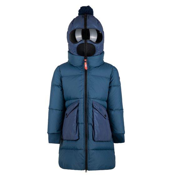 Long Girl's Down Jacket in Plain Nylon