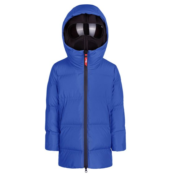 Boy's long down jacket in polyester with thermowelded quiltings