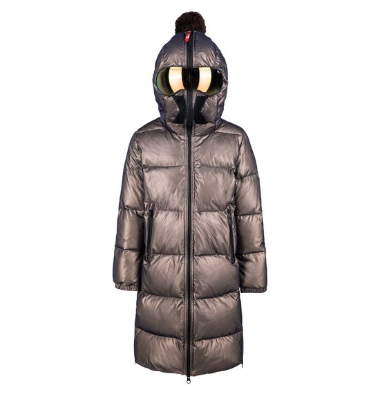Long Unisex Down Jacket in Nylon with Mesh