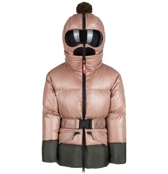 Girl's down jacket in nylon crystal chintz