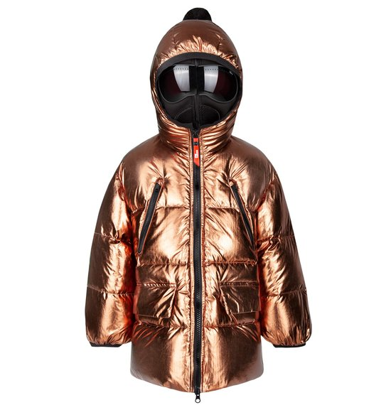 Girl's multi pocket down jacket in metal foil nylon