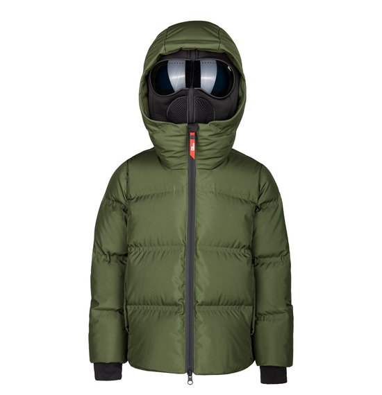 Boy's down jacket in polyester with thermowelded quiltings