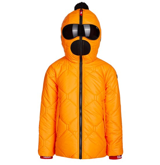 Boy's down jacket in nylon rubber hand touch
