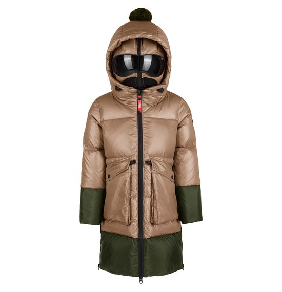 Girl's long down jacket in nylon crystal chintz