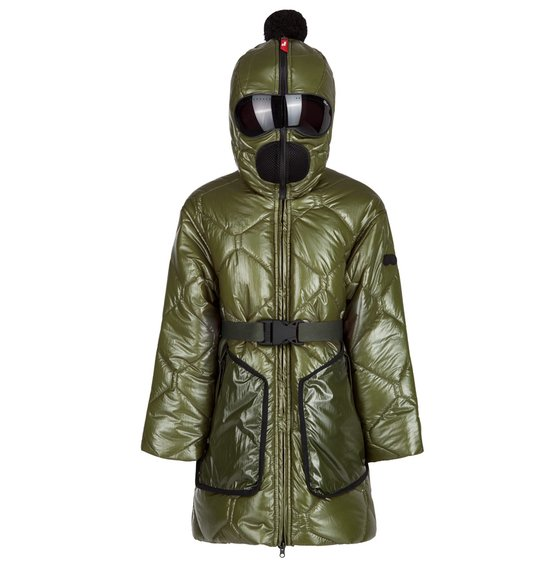 Girl's long down jacket in glossy crinkle nylon