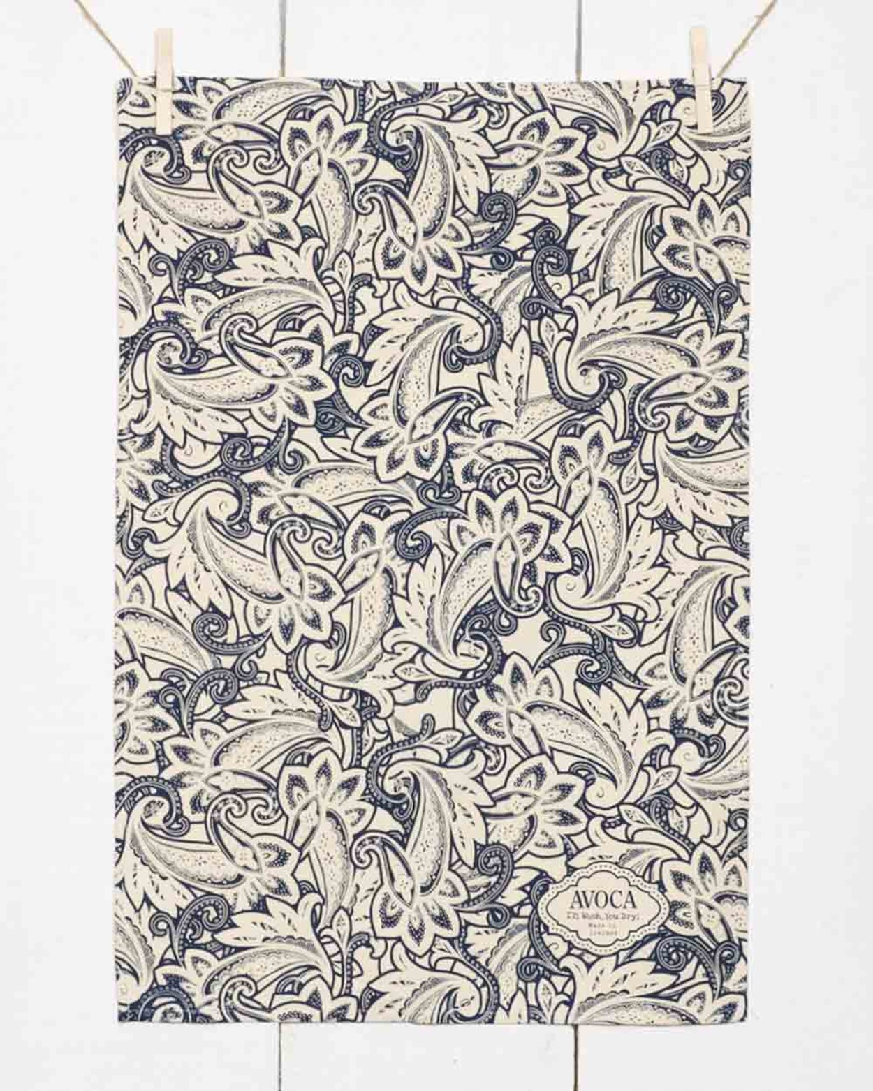 Navy Paisley Tea Towel