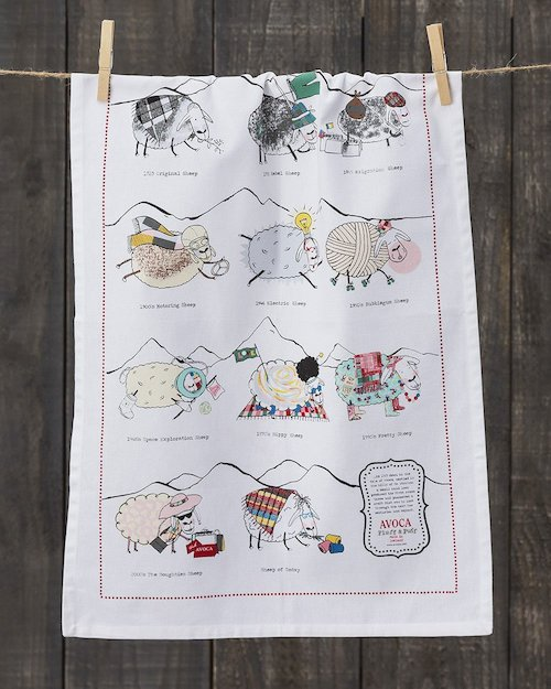 Sheep Through the Ages Tea Towel