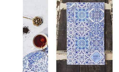 Blue Tile Print Tea Towel